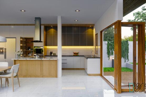 interior ruang makan dan dapur minimalis modern