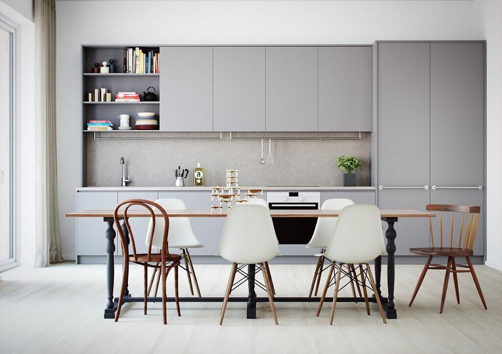 warna cat dapur soft grey 1024x724 - Inspirasi Desain Warna Cat Dapur Terbaik, Menjadikan Dapur Terlihat Lebih Menyenangkan