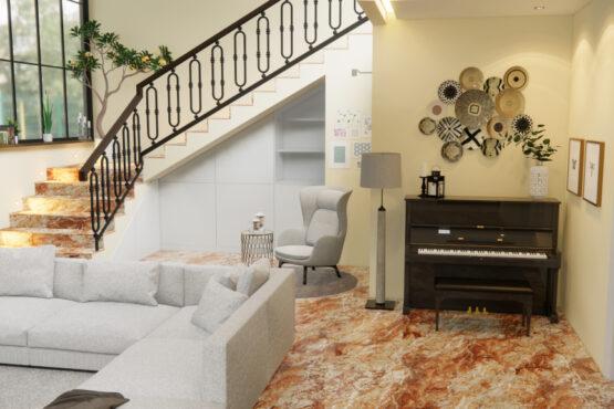 desain ruang keluarga eklektik