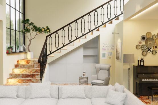 desain interior ruang keluarga gaya modern eklektik