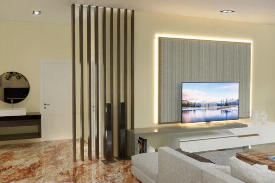 interior ruang keluarga gaya eklektik
