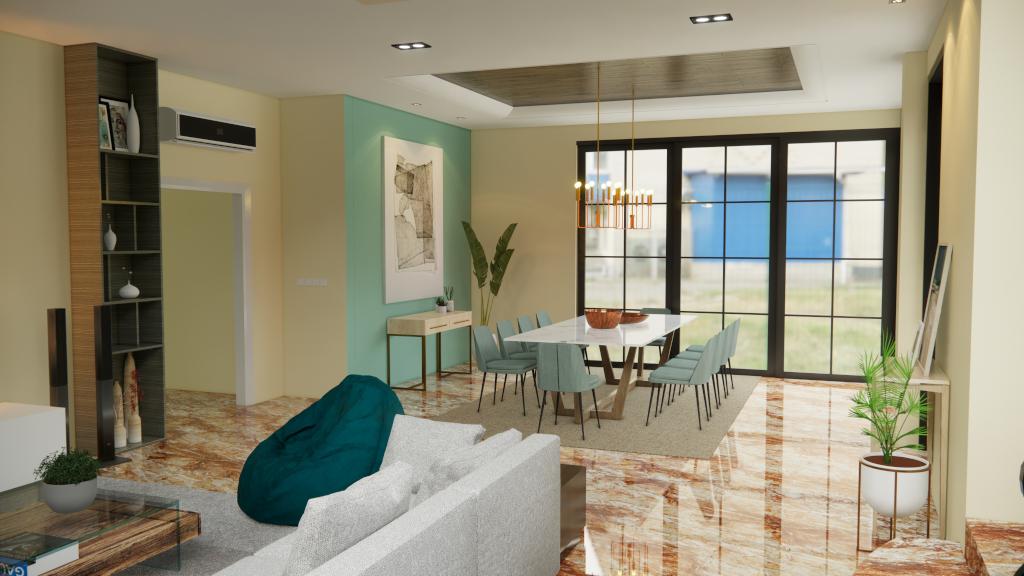 desain ruang makan gaya modern eklektik