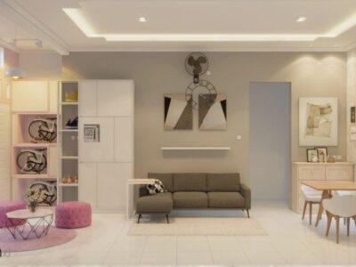 desain living room bekasi