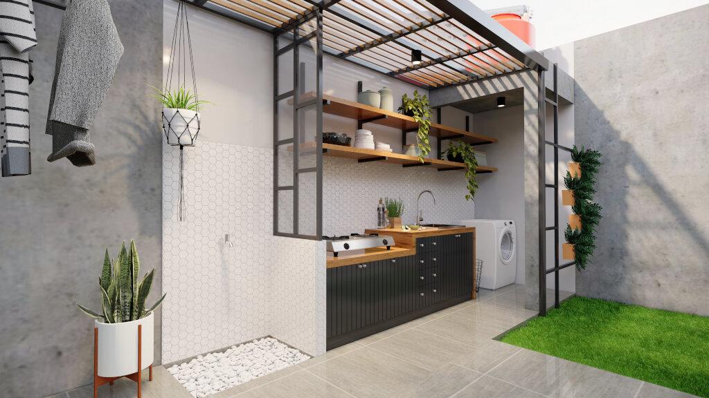 desain laundry room gaya industrial minimalis, Bogor.