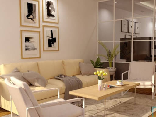 ruang tamu minimalis type 36