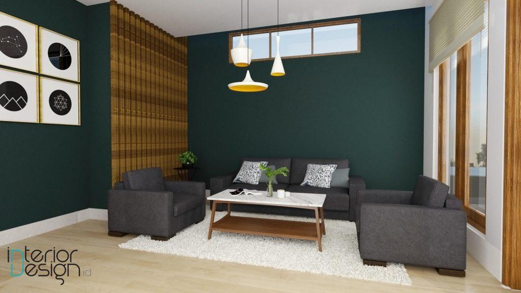 Desain interior ruang tamu gaya eklektik