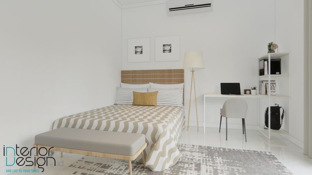 interior kamar tidur dengan warna cat putih