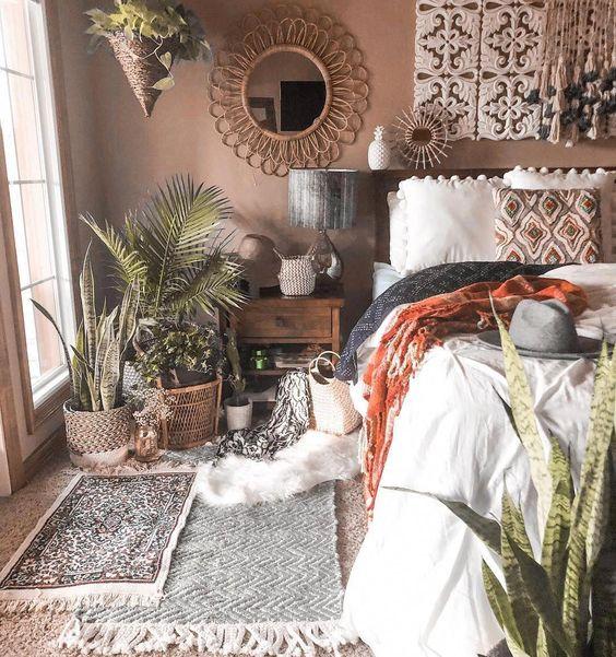Interior kamar tidur gaya bohemian