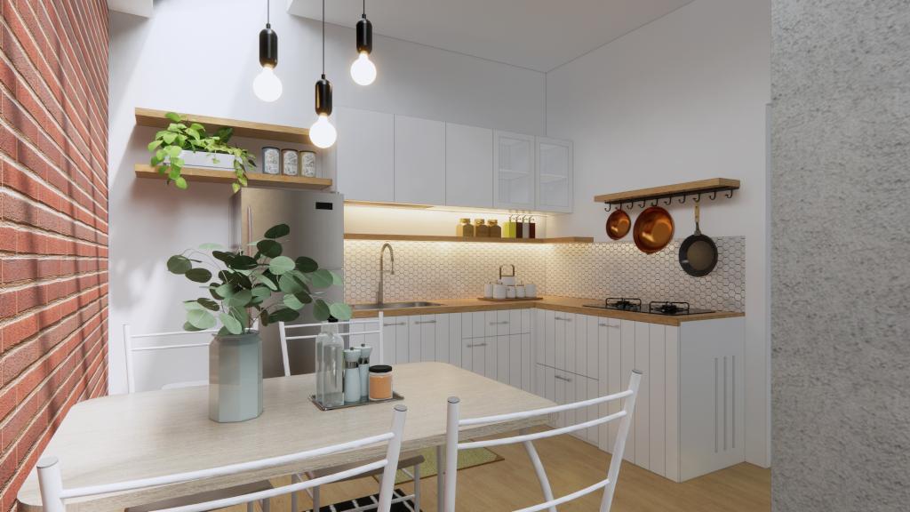 interior dapur dan tinggi meja dapur