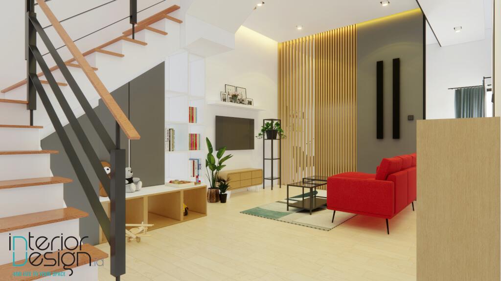 sistem pencahayaan interior ruang keluarga