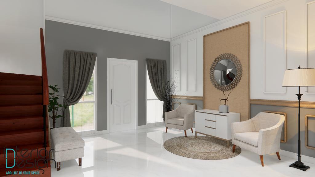 model gorden cantik dan mewah di ruang tamu