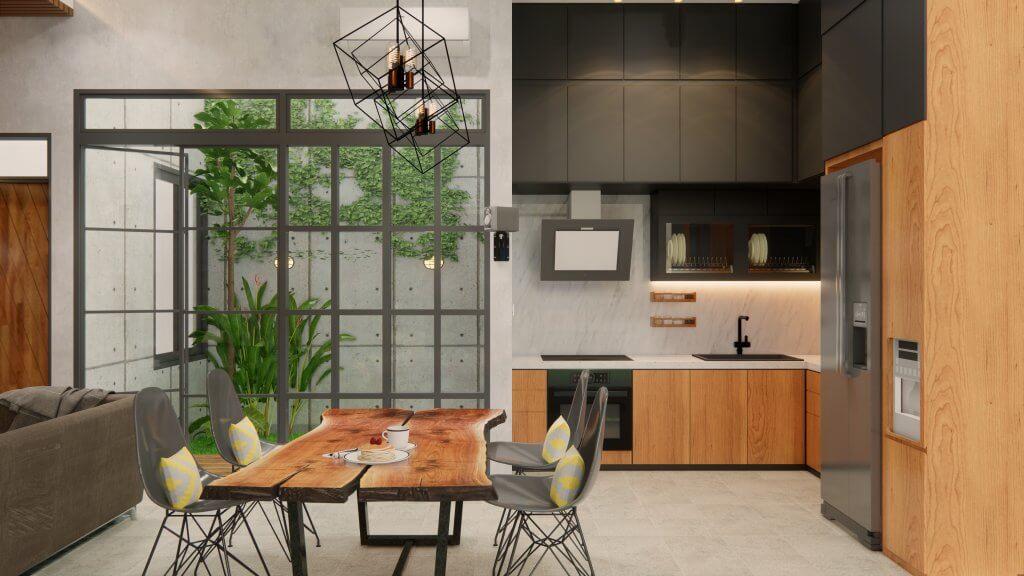 interior rumah gaya industrial modern