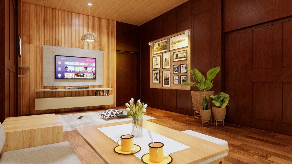 ruang keluarga/ruang tv rumah tradisional
