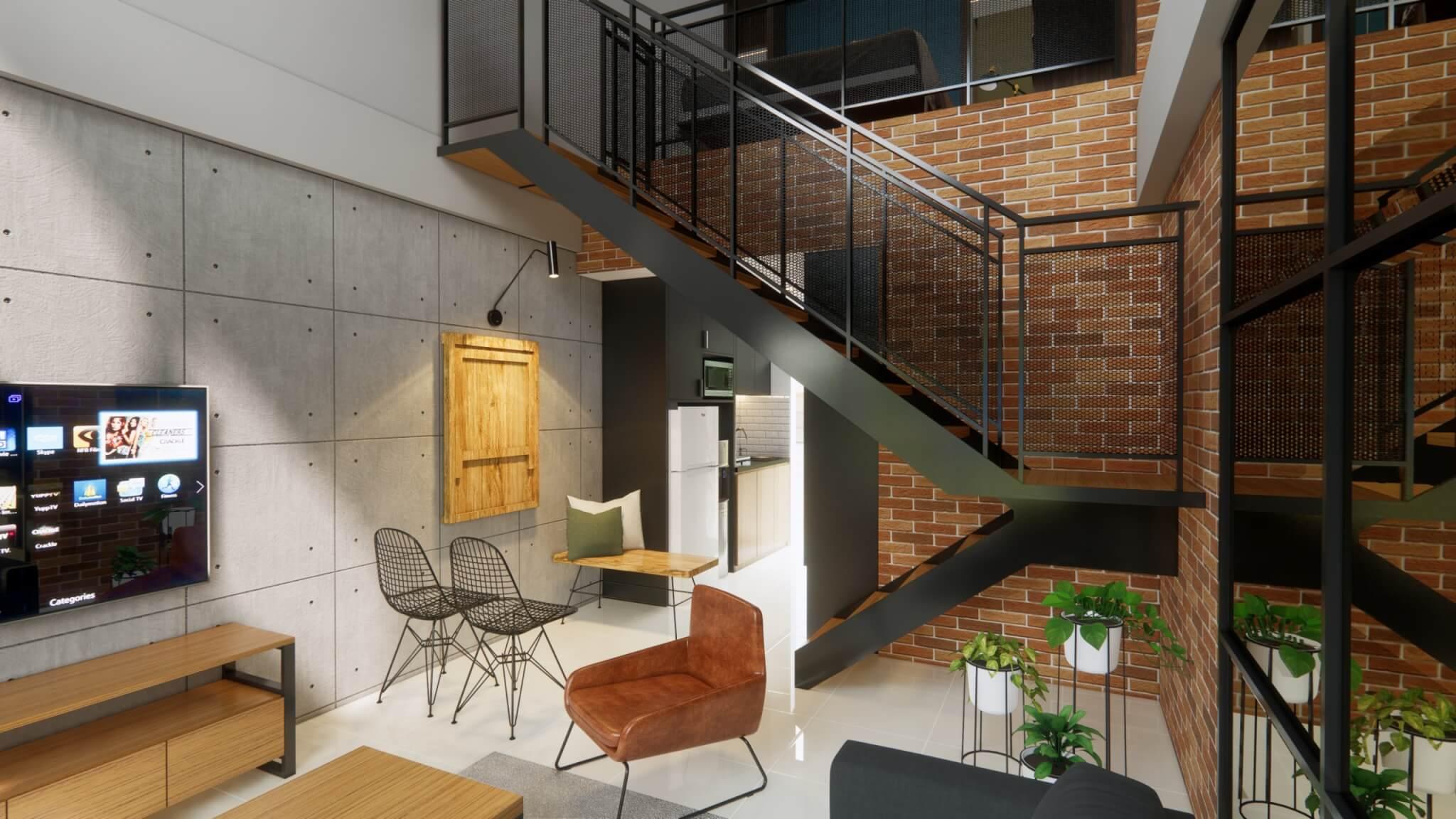 interior apartemen gaya industrial