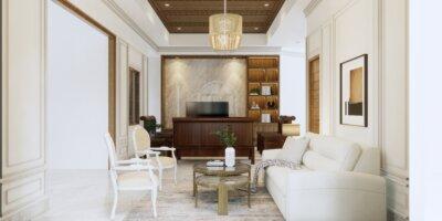 ruang keluarga eklektik, klasik, modern