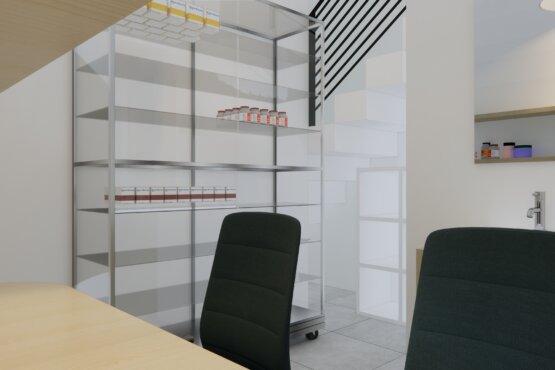 gambaran desain interior apotek minimalis