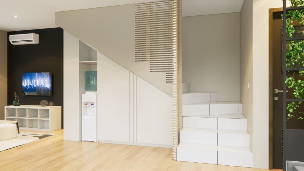 kabinet ruang keluarga kontemporer