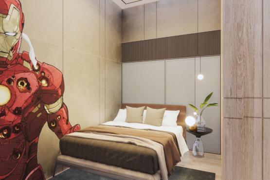 interior kamar anak laki-laki industrial