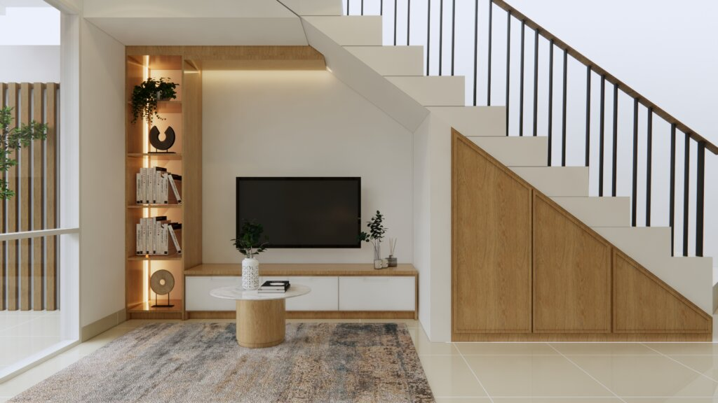 ruang tengah modern natural