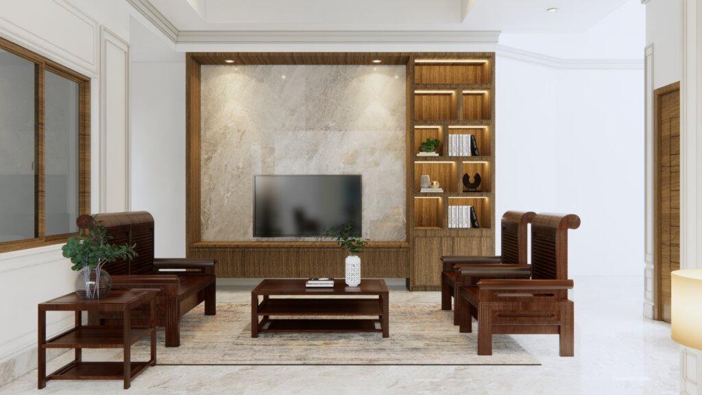 ruang TV eklektik, klasik, modern