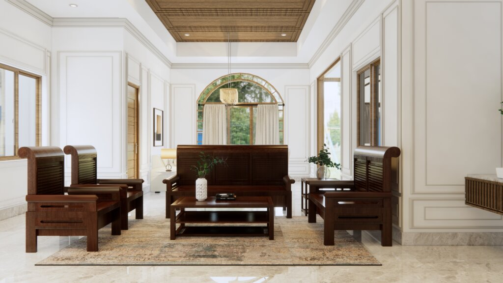 interior ruang keluarga eklektik, klasik, modern