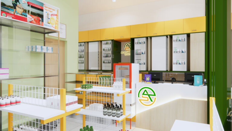 desain apotek minimalis