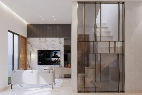 desain interior ruang tengah industrial kontemporer