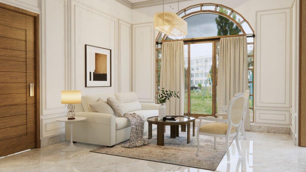 ruang tamu eklektik, klasik, modern