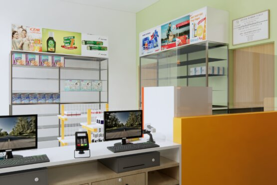 interior desain apotek minimalis