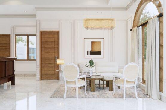 interior ruang tamu eklektik, klasik, modern
