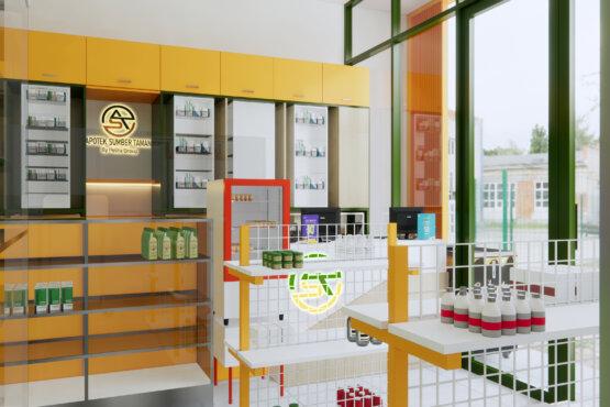 inspirasi desain apotek minimalis