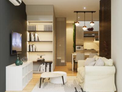 area ruang keluarga kontemporer