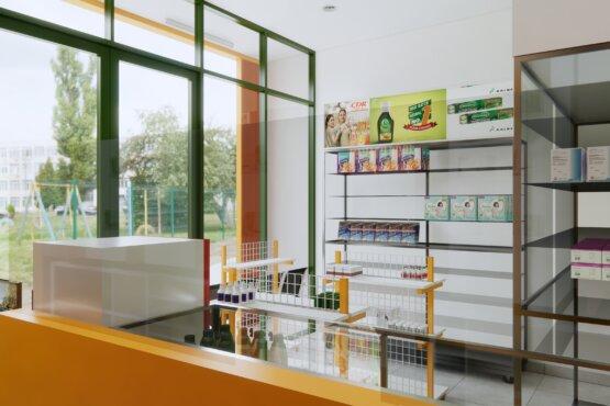 ide desain interior apotek minimalis