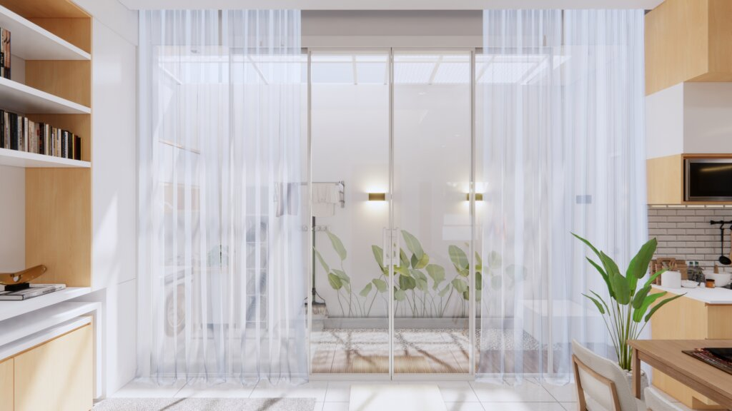 interior taman indoor minimalis di rumah sehat