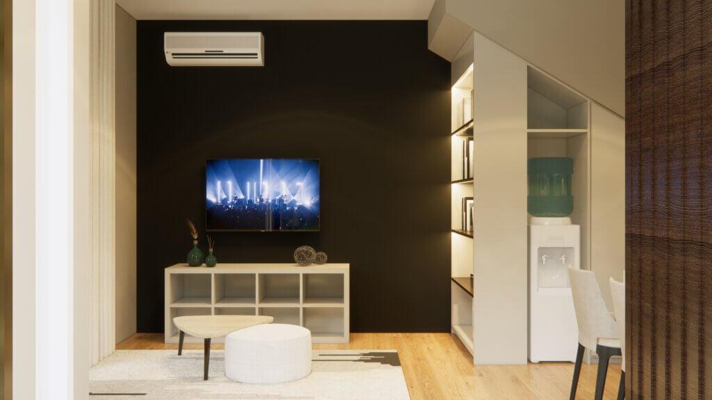 interior ruang keluarga kontemporer