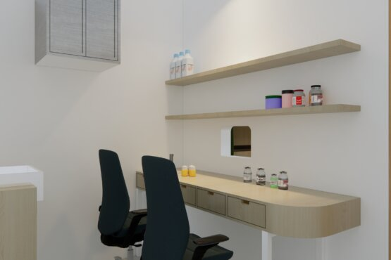 ide gambaran interior apotek minimalis