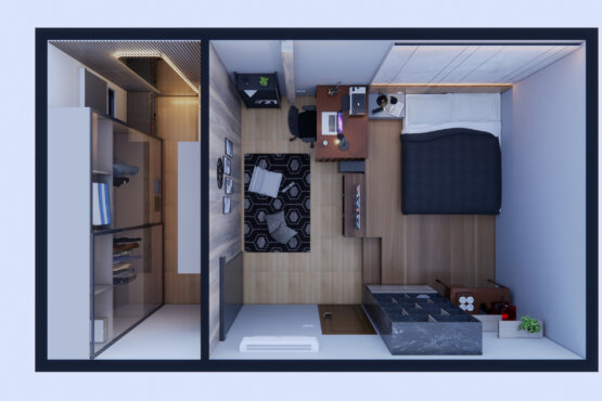 denah desain kamar kontemporer