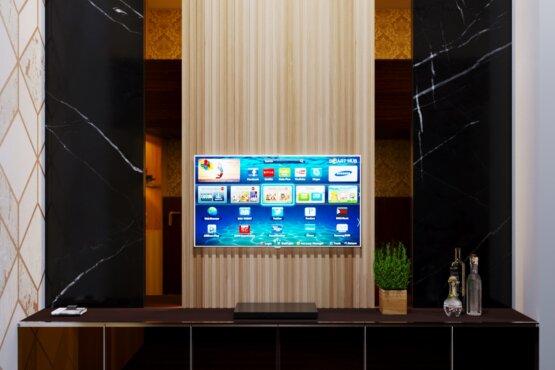 desain kabinet TV di kamar tidur minimalis