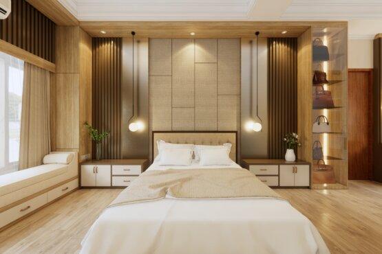 padded wall kamar tidur modern