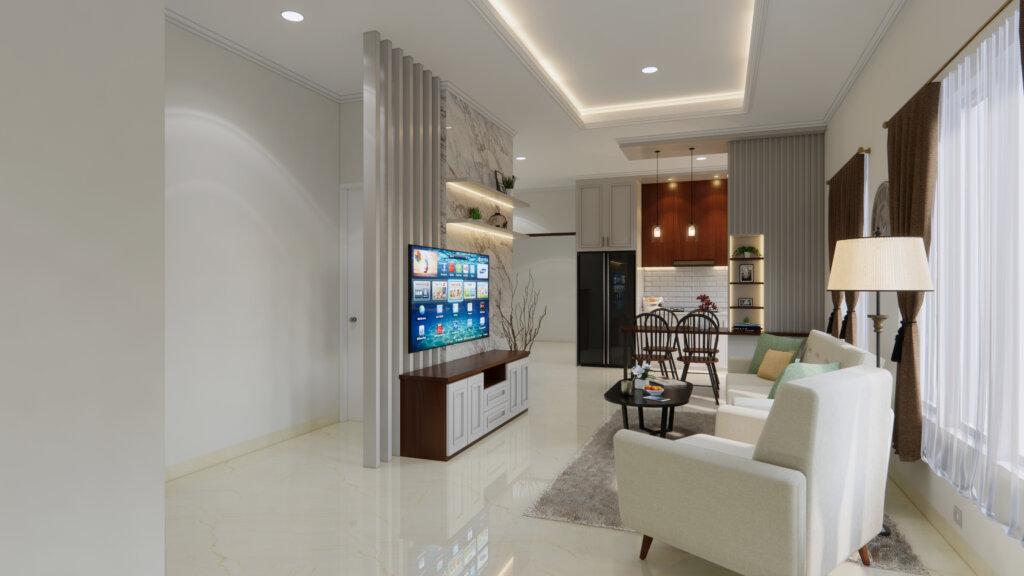 inspirasi ruang tengah rumah mungil modern klasik