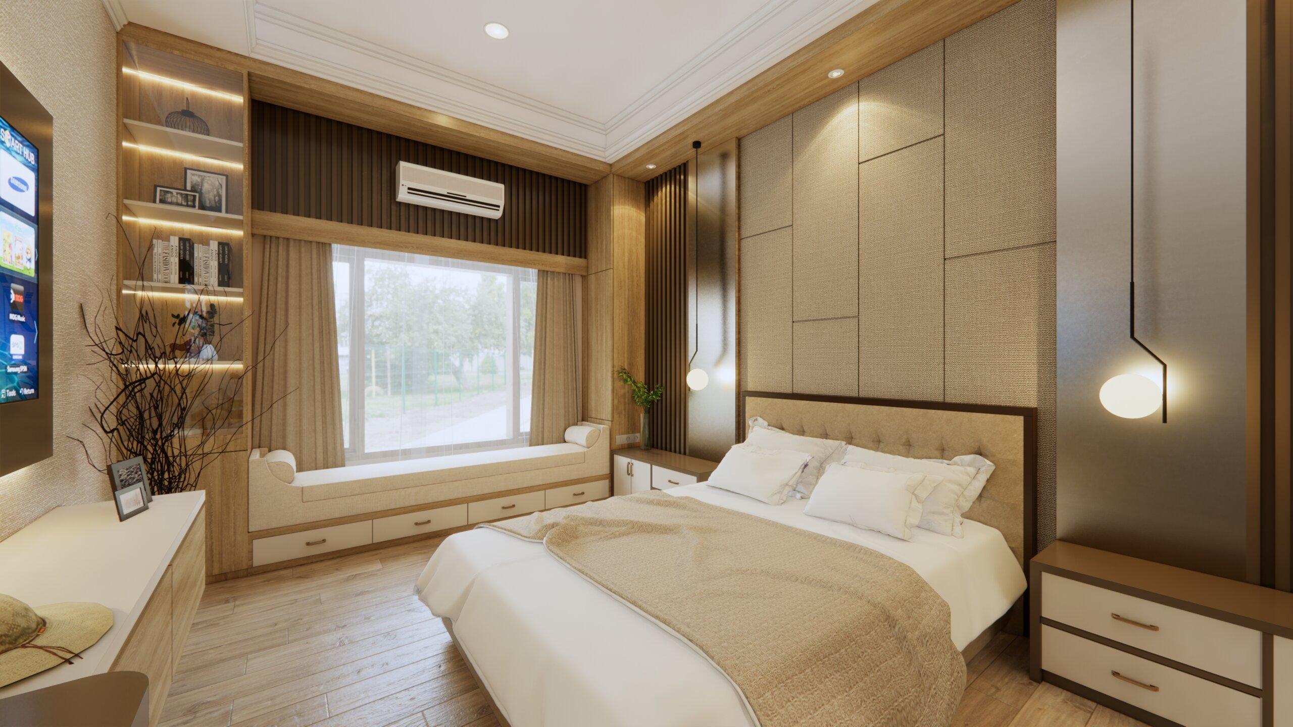 kamar tidur modern yang warm