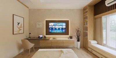kamar tidur modern dengan backdrop televisi