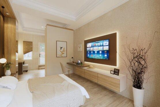 kamar tidur modern dengan furnitur kayu