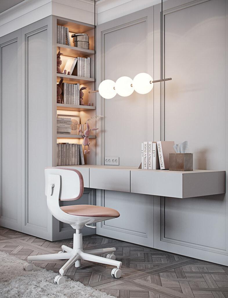 Interior ruang baca tulis dengan pencahayaan terkonsentrasi