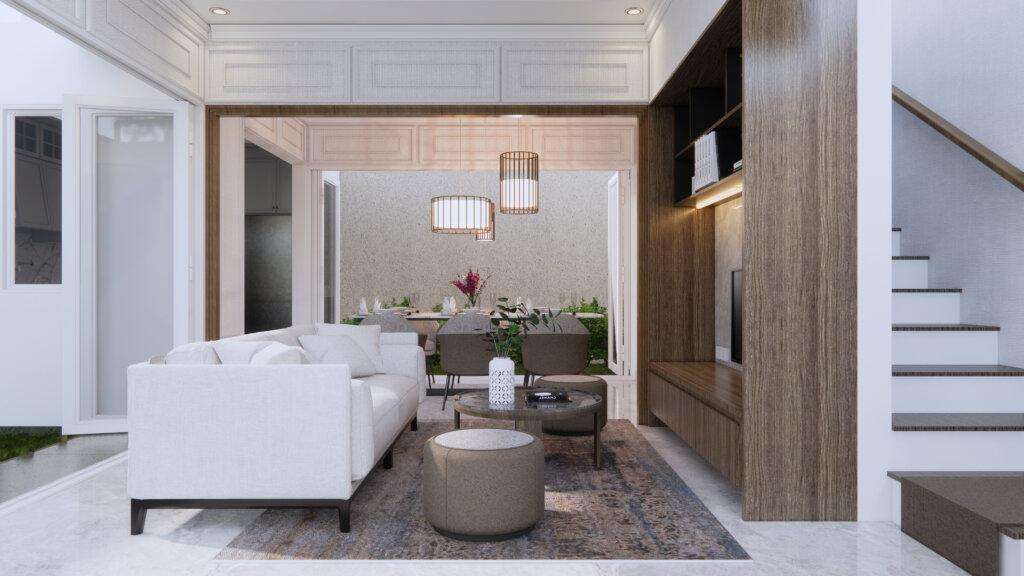 ruang keluarga dan ruang tengah modern klasik