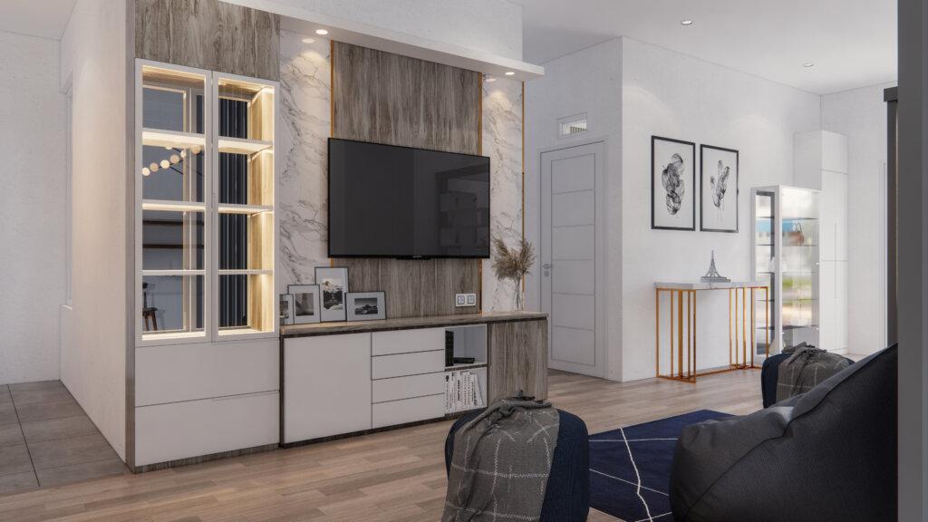 desain interior ruang keluarga dan ruang tamu modern
