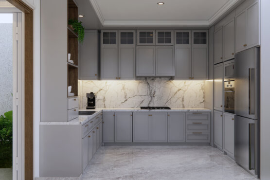 pantry dan ruang tengah modern klasik