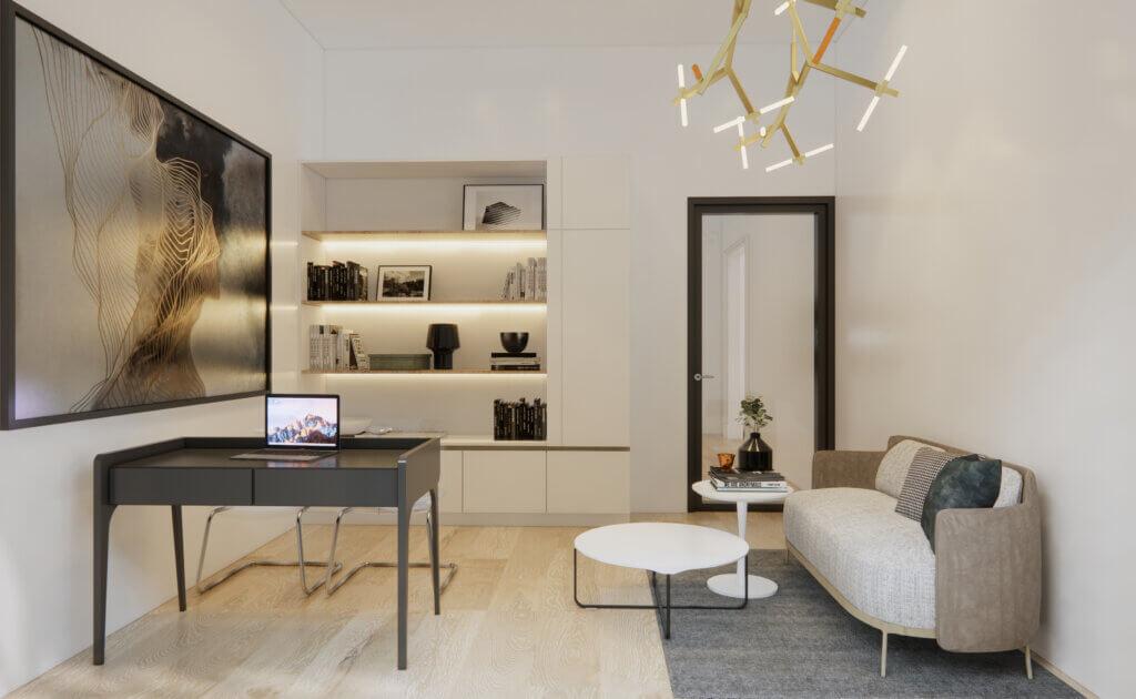 kantor eclectic design dengan lantai vinyl
