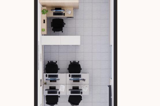 denah desain interior kantor industrial