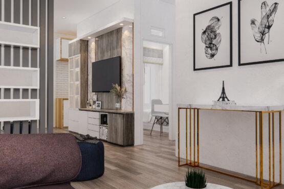 desain ruang tamu dan ruang keluarga modern